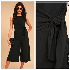 Lulu's On Track Black Midi Jumpsuit. NWT